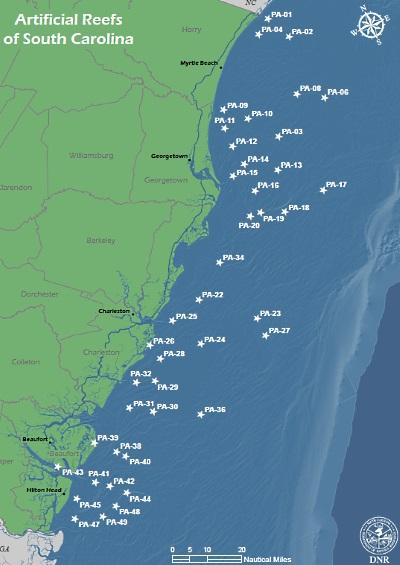 SCDNR Artifical Reefs - South carolina coast map
