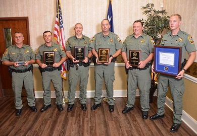 The SCDNR Law Enforcement Officers of the Year were (from left) Jim Shelton of Charleston, Ryan Abernathy of Ware Shoals, Wes Stewart of Lancaster, Ed Laney of Dalzell, Michael Brock of Bluffton and Jordan Douglas of Summerton. (SCDNR photo by Greg Lucas)