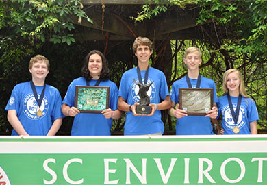 The winning Envirothon team from Spartanburg High School Team A was made up of Sam Fowler, Hawkins Shepard, Nathan Brown, Luke Martin and Nan Miles.