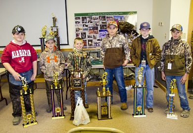 Winners in the Junior Division at the 22nd annual State Championship Youth Coon Hunt pose with their trophies at the SCDNR's Webb Wildlife Center, Saturday, March 4, 2017.
