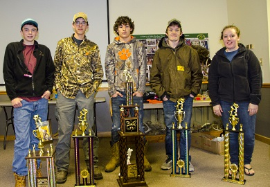 Winners in the Senior Division at the 22nd annual State Championship Youth Coon Hunt pose with their trophies at the SCDNR's Webb Wildlife Center, Saturday, March 4, 2017.