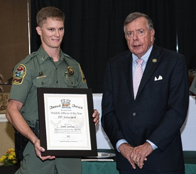 Pfc. JB Smith also won the overall award of Wildlife Officer of the Year.