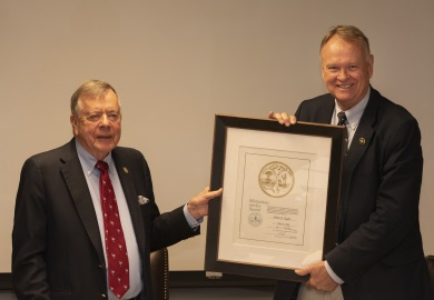 Alvin Taylor accepts his Meritorious Service Award From SCDNR Board Chairman Norman Pulliam. (SCDNR Photo/Joey Frazier)