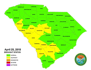 All counties are currently in either normal or incipient statuses.