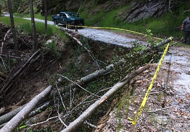 Dangerous landslides caused by abundant rainfall have forced the closure of a section of Horsepasture Road in Jocassee Gorges. (SCDNR photo by Mark Hall)