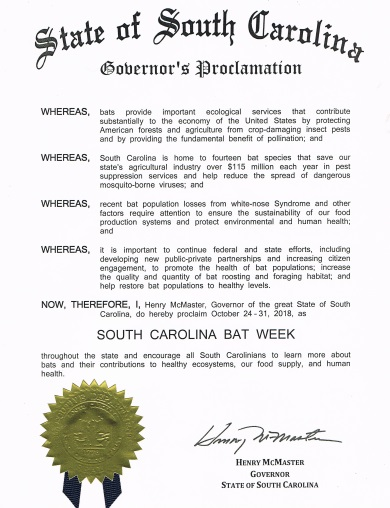 A proclamation from Governor Henry McMaster's office has declared October 24-31 Bat Week in South Carolina.