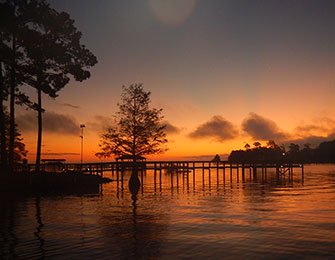 An early morning sunrise lights up a cypress tree near a dock on lake Marion, the perfect prelude to a day of fishing on one of the top-ranked fishing lakes in the United States. [SCDNR photo by David Lucas]