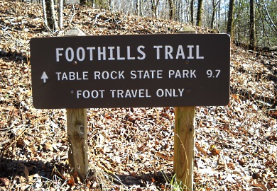 Foothills Trail from Sassafras Mountain to Table Rock State Park is open to hikers as of January 20, 2017