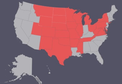 U.S. states where CWD has been confirmed are shown above in red.