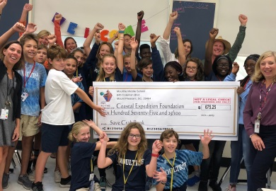Students present check to Coastal Expeditions after raising money for the Crab Bank renourishment project. (Photo by Chris Crolley)