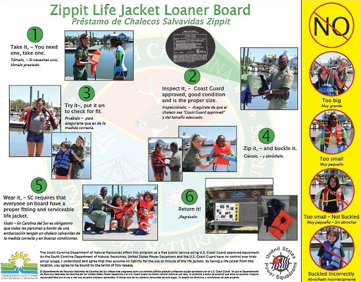 A new life jacket loaner board with bilingual signage instructing users in the proper use of life jackets will be placed at the John P. Limehouse Boat Landing.