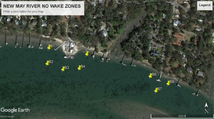 The markers in the image above represent the approximate boundaries of two new no wake zones approved for the May River in Beaufort County. SCDNR staff placed the buoys and signage for the new zones on May 4, 2018. Boater using the area should familiarize themselves with the new markers, take care to keep a good lookout when passing through the area and  manage their wakes responsibly. [Image courtesy Google Earth].