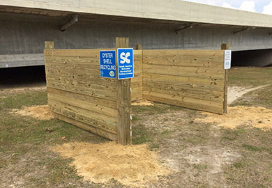 The new oyster shell recycling drop-off sits in the shadow of the Chechessee River Bridge in Beaufort County. (Photo: Ben Dyar)