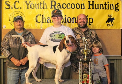 Jace Shuler won first place in the 25th annual State Youth Coon Hunting Championship, held March 2, 2019 in Hampton County. [SCDNR photo by J. Butfiloski]