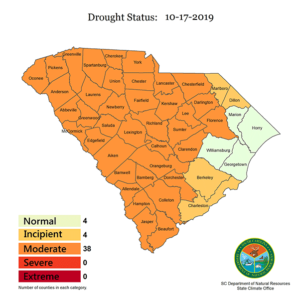 South Carolina Drought Response Committee maintains drought status for most counties