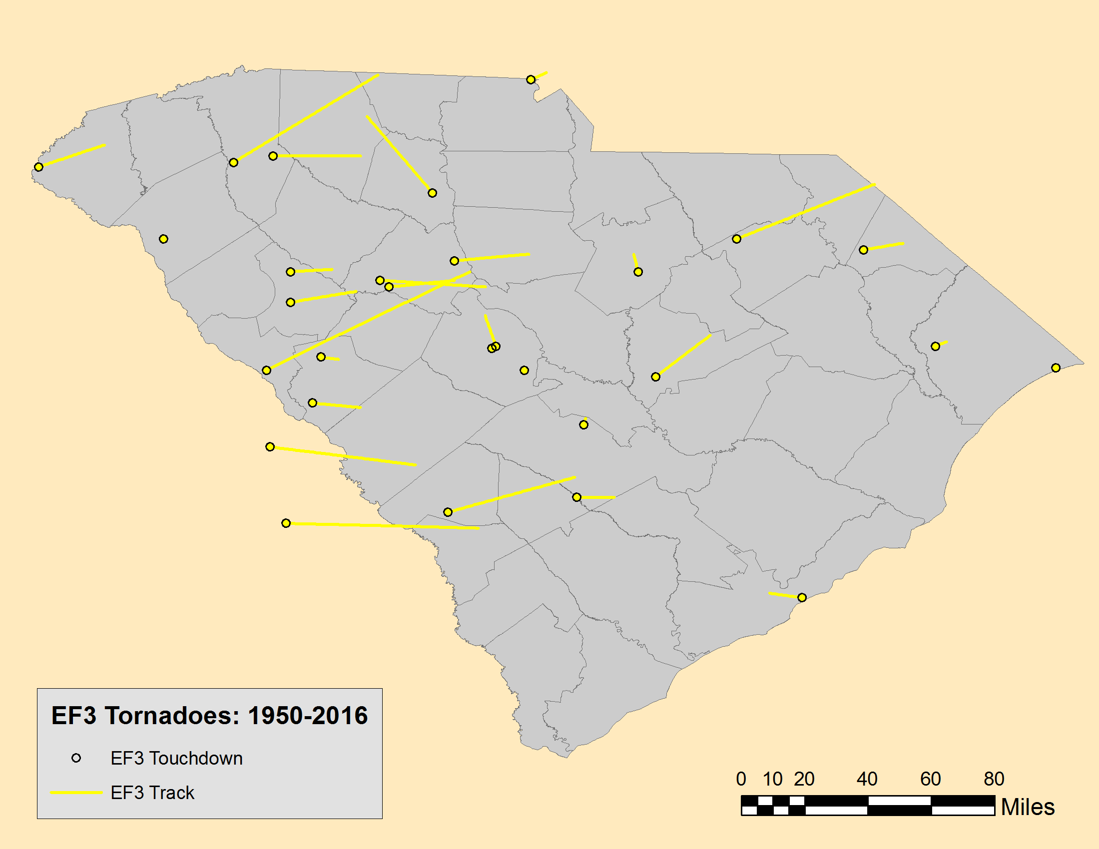 tornadoes have touched down in every south carolina county with the most frequent touchdowns and tracks in the midlands and dee regions