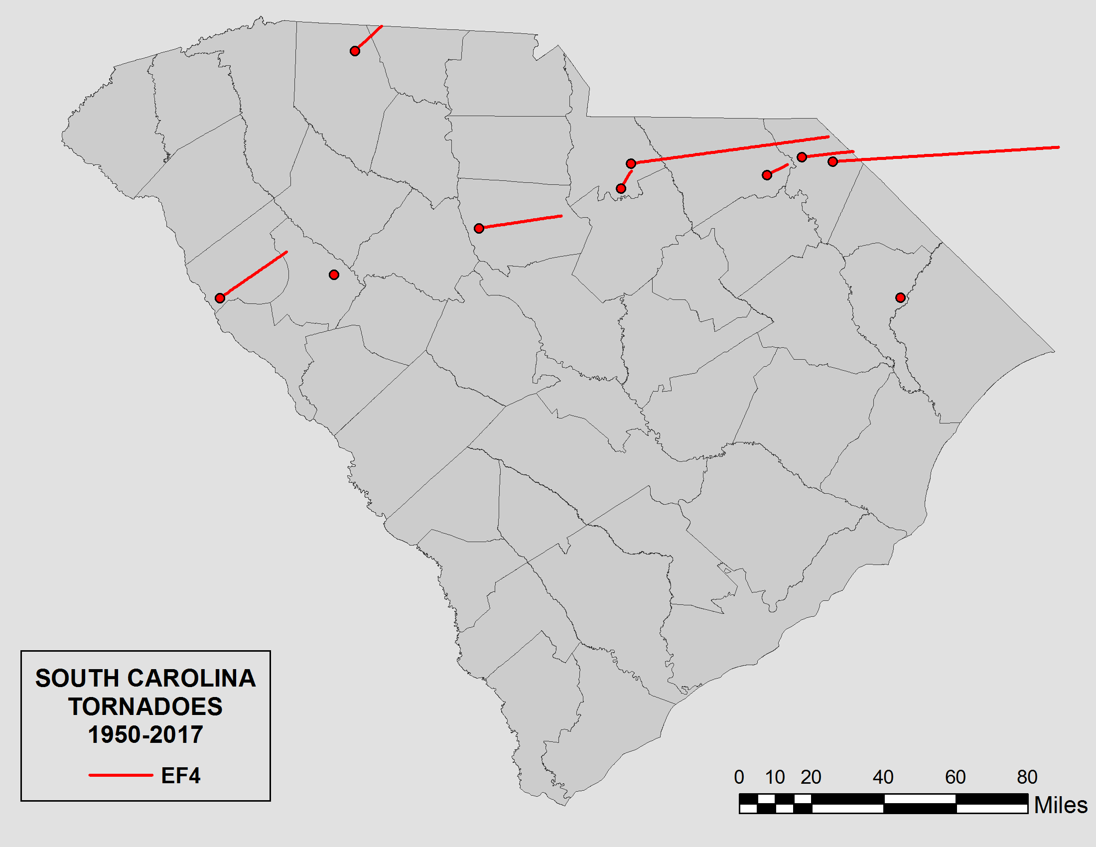 South Carolina State Climatology Office Wiring Meter Diagram Appalachian Power Figure 5 Shows The Distribution Of All Tornado Touchdowns Across And Tracks Longer Lived Tornadoes Figures 5a E Map Separate Ef0 Ef1