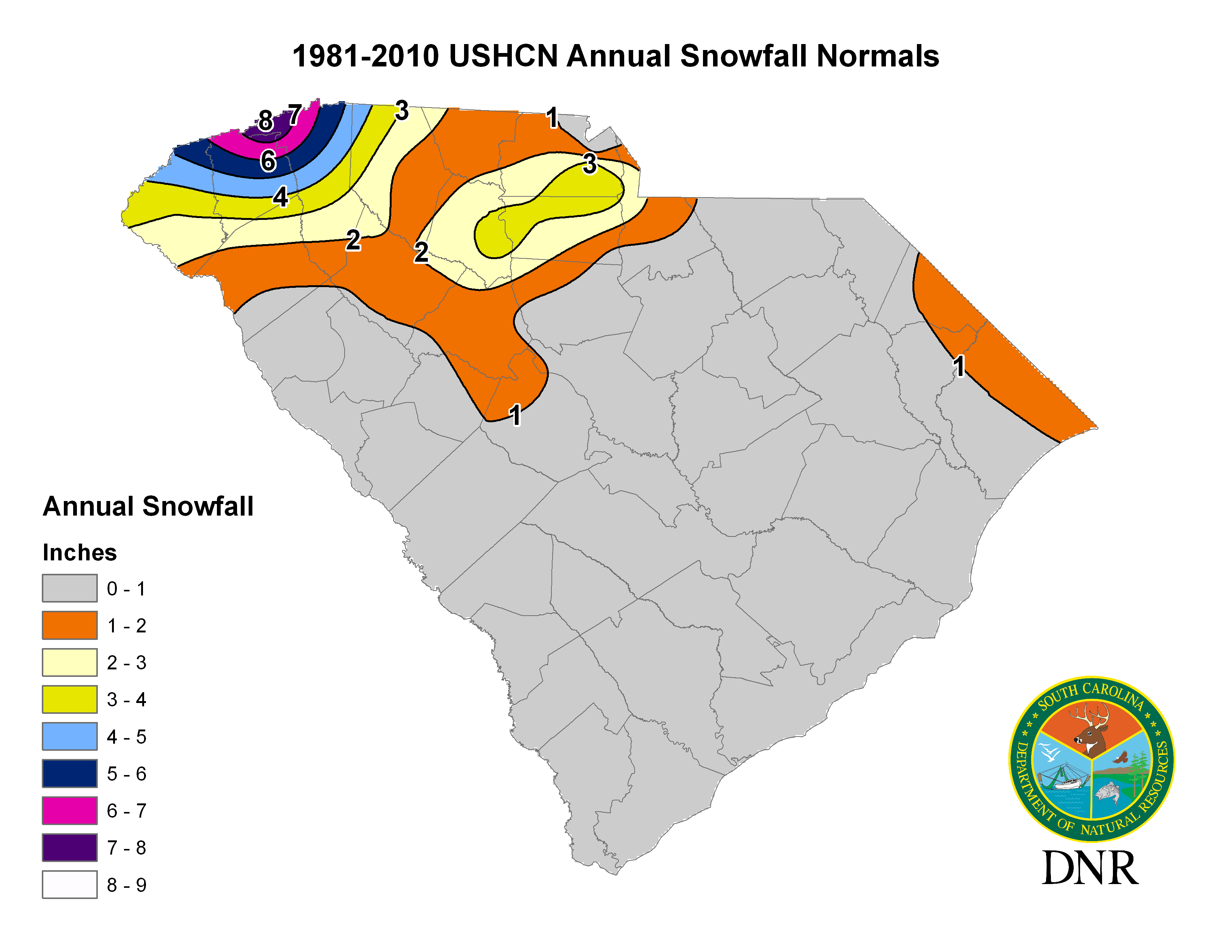 South Carolina State Climatology Office - Us annual snowfall map