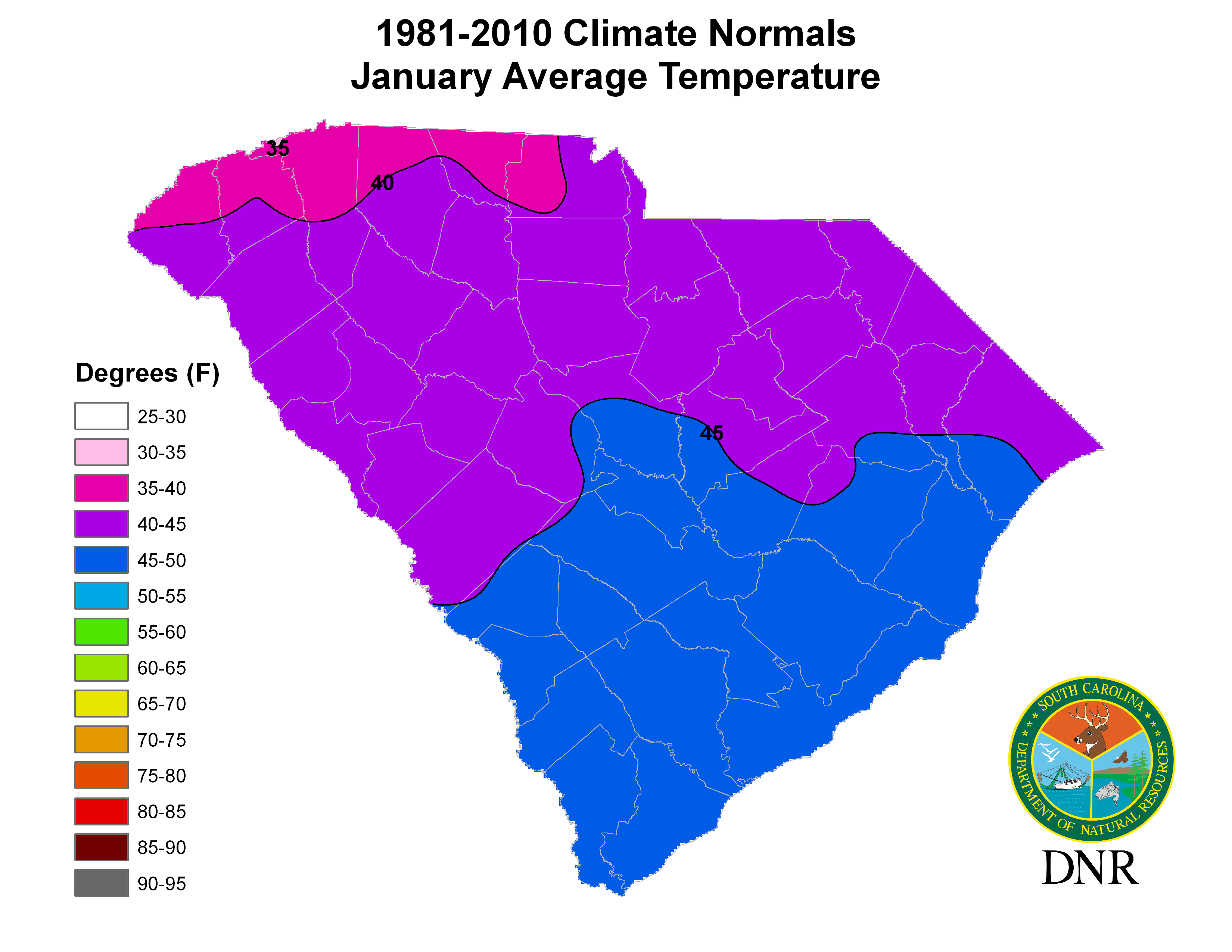 South Carolina State Climatology Office - Map us average high low temperature map