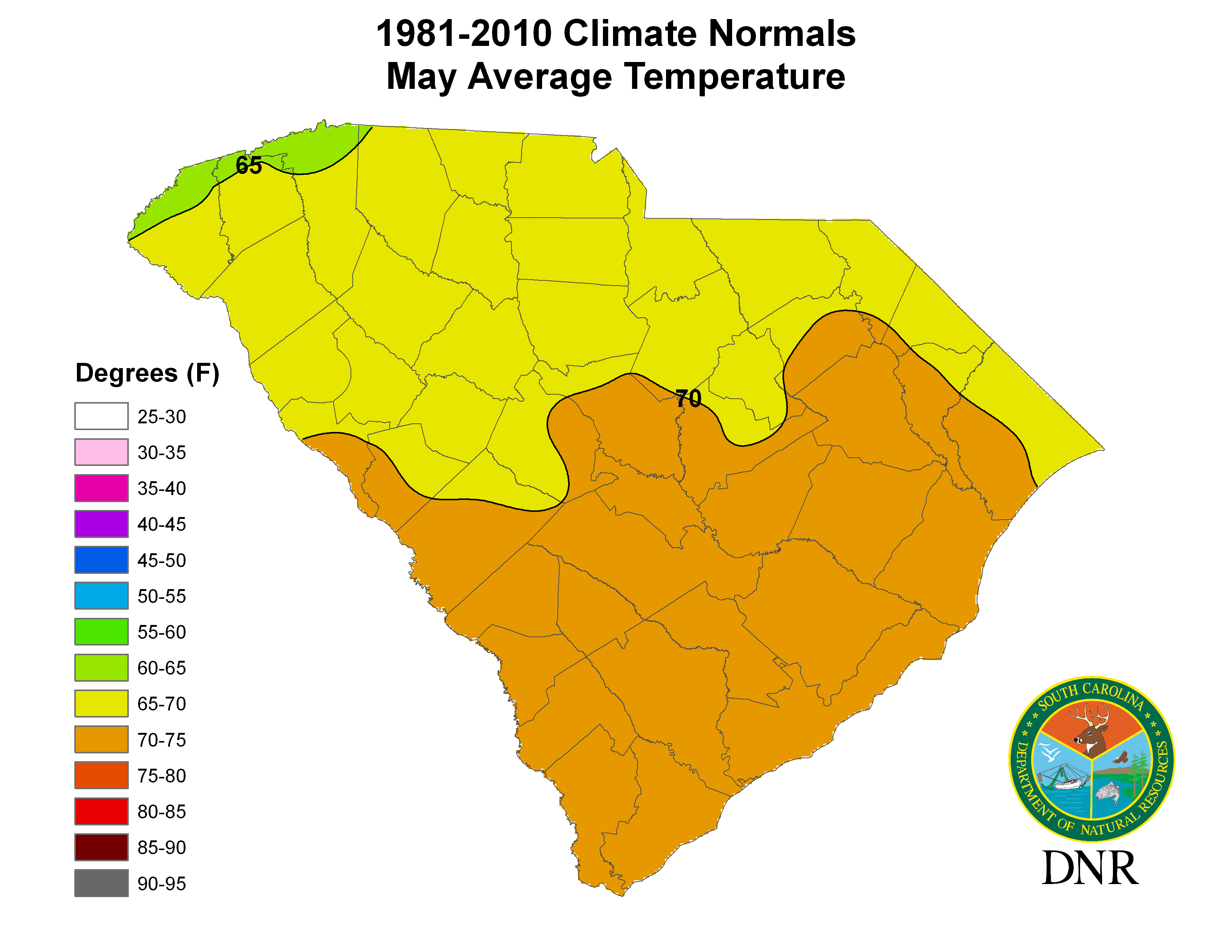 South Carolina State Climatology Office - Annual High And Low Temperatures Us Map