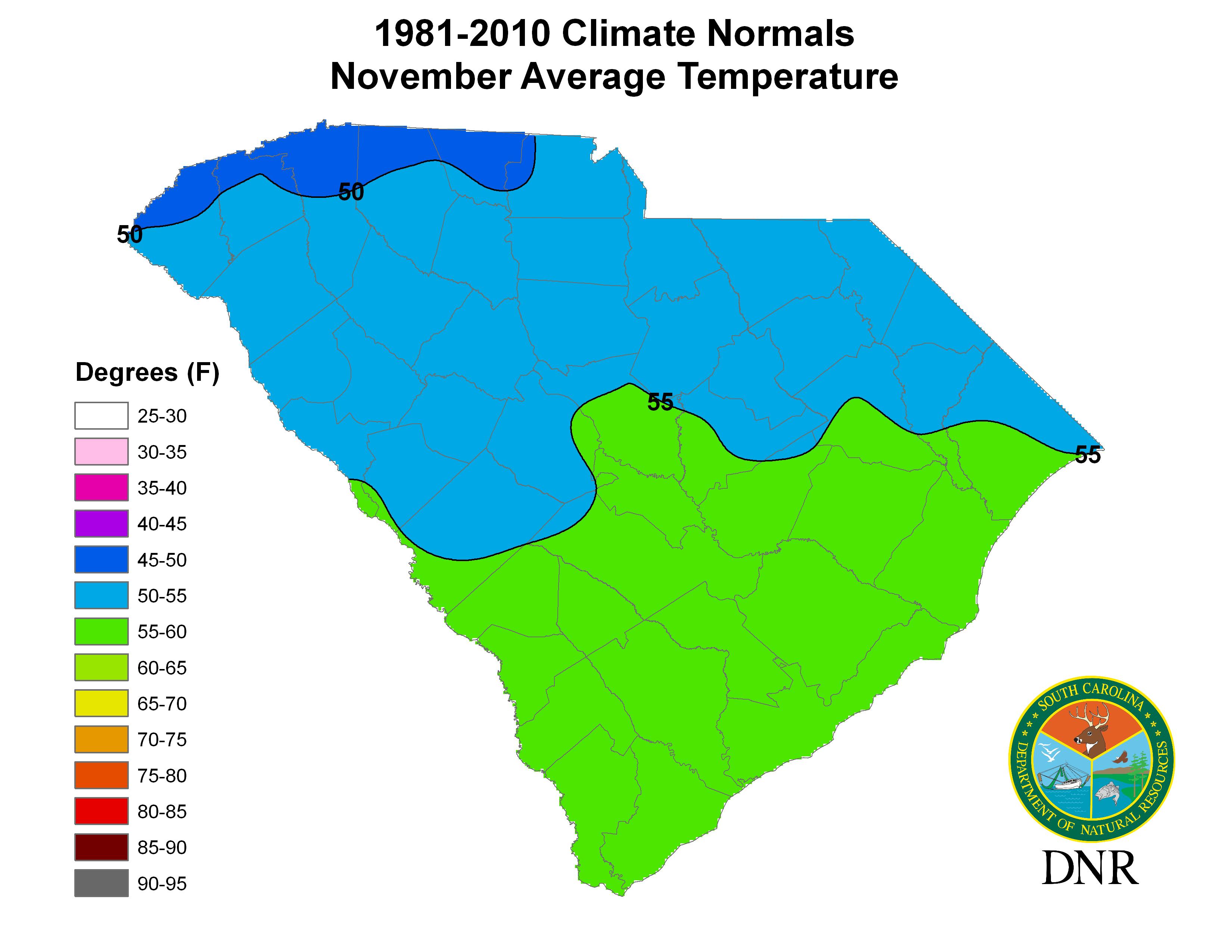 South Carolina State Climatology Office - Average temperature map usa