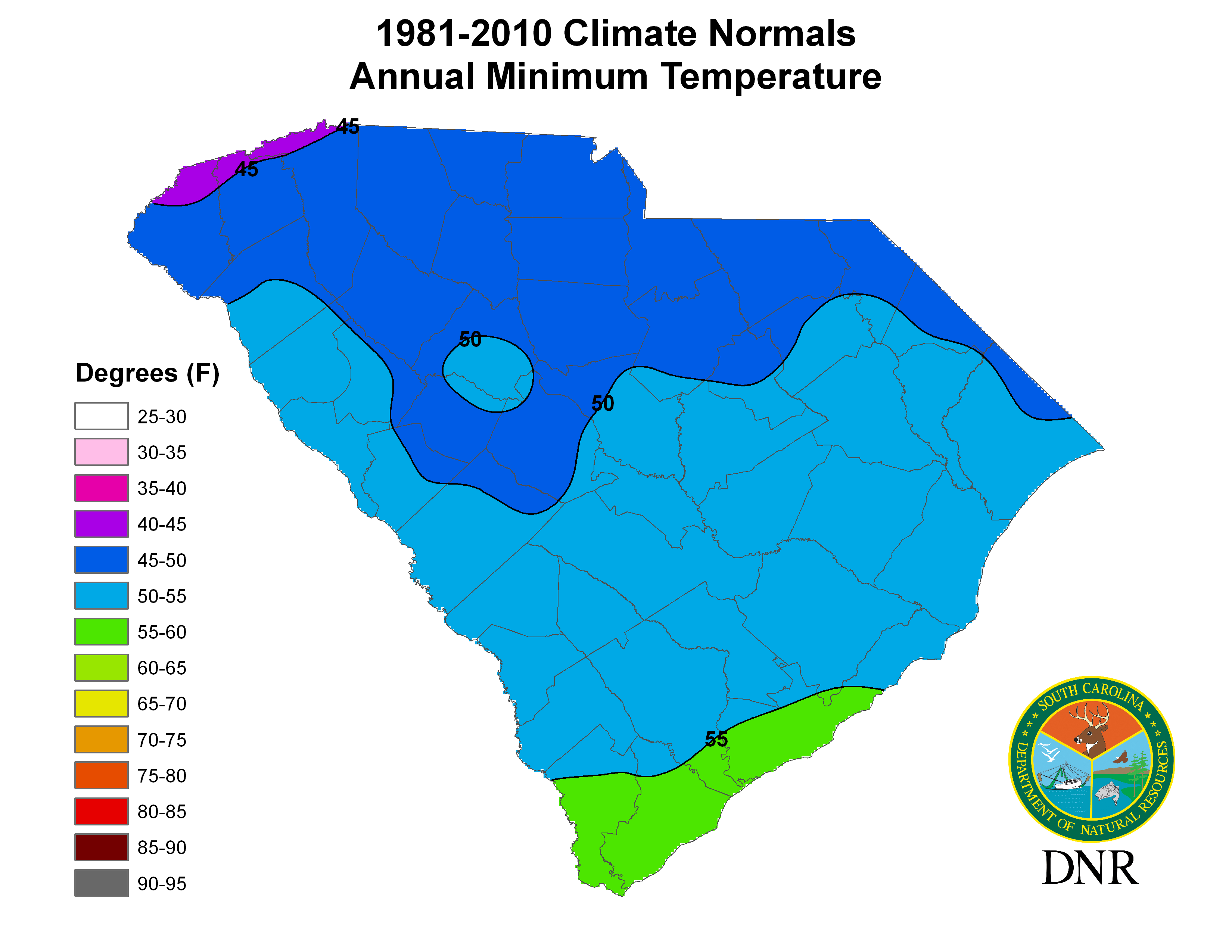South Carolina State Climatology Office - Us annual temperature map