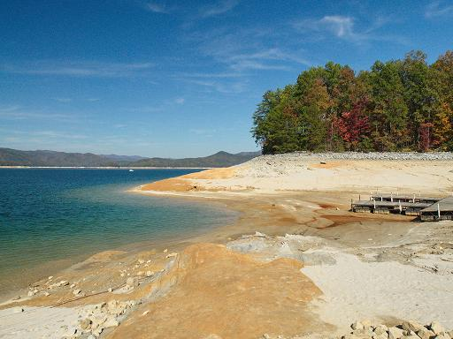 Very low water levels on Lake Jocassee in 2011. Photograph courtesy of Mr. Doug Young.