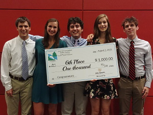 2019 SC Envirothon from Spartanburg High School posing with their NCF Envirothon Award. From left to right is Justin Barron, Emma Sandago, Nathan Jones, Isabella Goodchild-Michelman, and Nolan Sykes.