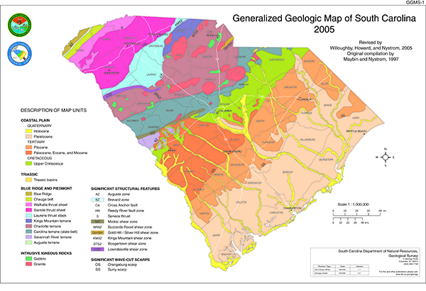 General Geology Of South Carolina - Map to south carolina