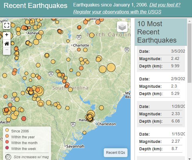 South carolina recent earthquakes gumiabroncs Choice Image