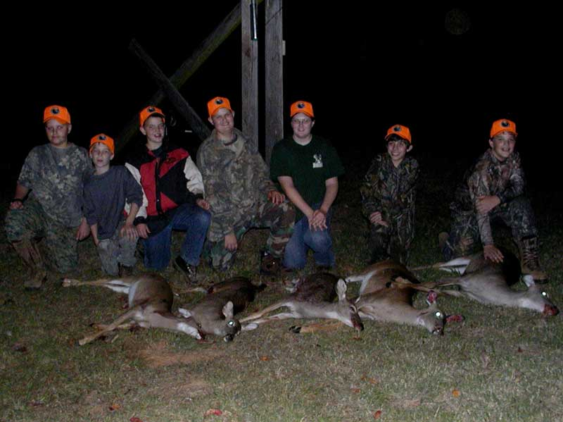 Youth deer hunt participants and white-tailed deer.