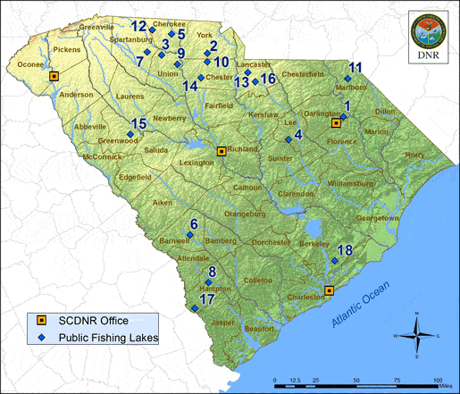 Scdnr state lakes for Fishing license sc