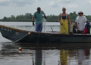 Fishermen using a Gill Net